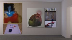 Exhibition view with two paintings and two flatscreens with the evolution of the paintings on it.