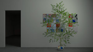 Exhibition view with tree in front of Mondrian inspired paintings.