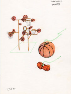 Drawing of an artwork with pneumatic basketballs.