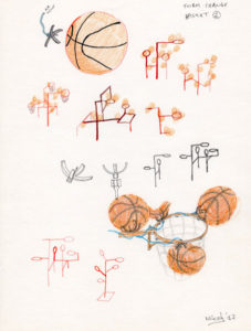 Concept drawing for a sculpture with basketballs.