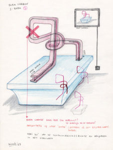Drawing idea for an I'beam on a pedestal that grows organic.