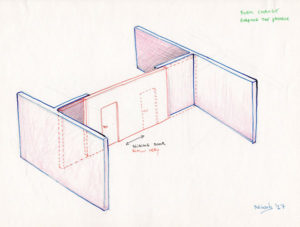 Concept drawing art installation of a sliding door in a room.