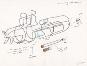 Drawing of a submarine in inox for the artwork Shipbuilding.