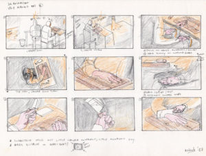 Storyboard for a 3D animation The Cutting Board.