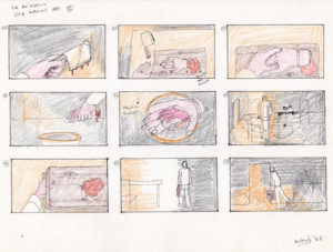 Storyboard drawing a man cuts of his hand and walks away.
