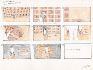 Storyboard for a 3D animation named The Cutting Board.