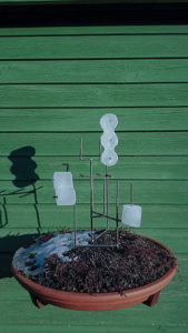 Icecubes on a sculpture in de sun.