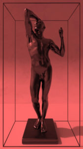 Rodin's Bronze Age on red background within a frame.