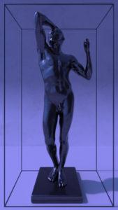 Rodin's sculpture The Bronze Age black polish in a frame