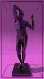 Sculpture The Bronze Age Rodin in a frame.