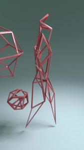 Abstract pink geometric figure walking.