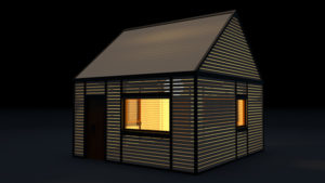 Videostill 3D animation house with rolling shutters.