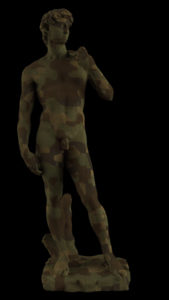 Michelangelo's David with camouflage skin.