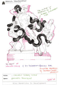 Concept drawing to change Laocoöns snake in a rubber tube.