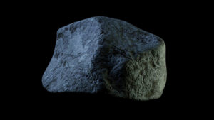 A rock in space from a 3D animation by Niko Hendrickx.