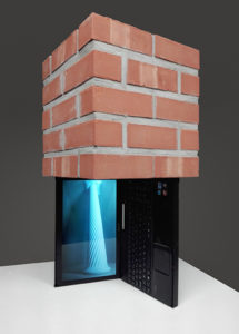 Brick block resting on a laptop with a 3D animation.
