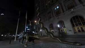Charging Bull with bronse snake that turns into a stairway.