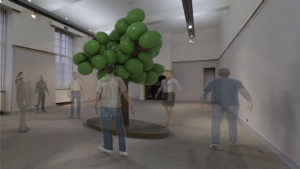 People looking in an art exhibition at an inflatable tree.
