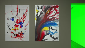Two abstract paintings made with ice plates inspired by Mondrian.