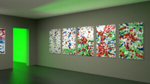 Exhibition space with five abstract painting with blue, black, red and yellow dots.