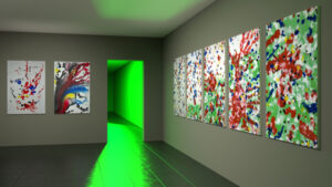 View of an exhibition space with 7 abstract paintings inspired by Piet Mondrian.