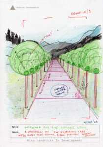 Concept drawing with a lane of pneumatic trees.