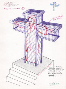 Concept drawing with a statue of Christ in a cross of rolling shutters.