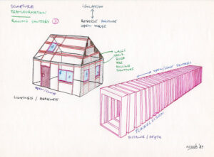 Artwork concept drawing house and tunnel with rolling shutters.