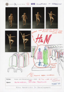Drawing with print of a transforming figure and inside H&M store.