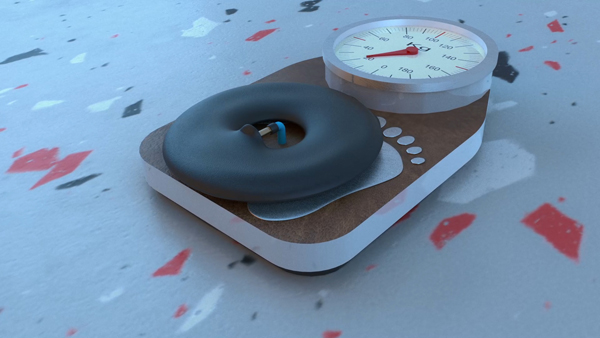 Videostill of a scale with an inflatable tire on it.