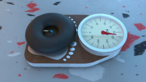 Videostill from a 3D animation of a scale with an inflatable tire on it.